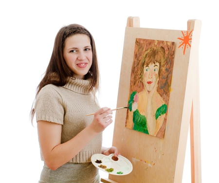 creativity artist: Chica pintando un cuadro Foto de archivo