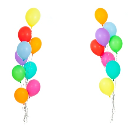 frame from colorful balloons isolated on white photo