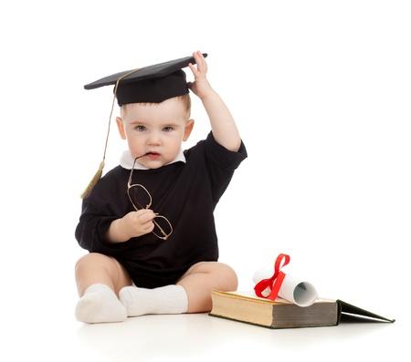 prodigio: Bambino in abiti Accademici con rullo e il libro