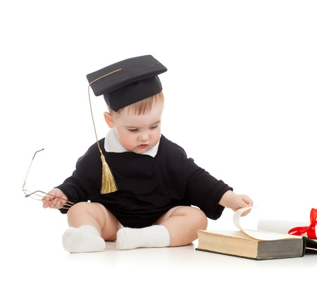 roster: Baby in academician clothes  with roll and book