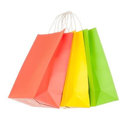色付きの紙のショッピング バッグのセット