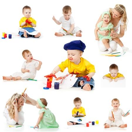 dirty girl: bambini pittura e disegno matite isolato su sfondo bianco