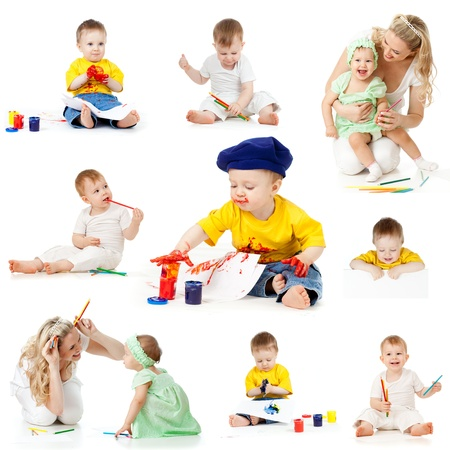 children painting and drawing pencils isolated on white background photo