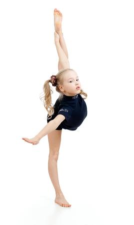 rhythmic gymnastics: joven haciendo Gimnasia sobre el fondo blanco Foto de archivo