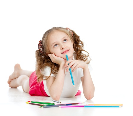 little girl surprised: dreamy girl with pencils Stock Photo