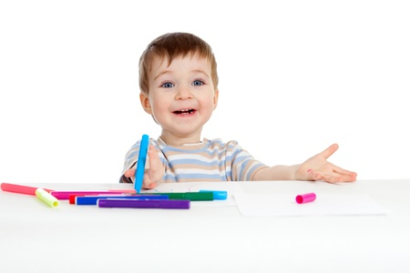 little table: little child with color pen over white Stock Photo