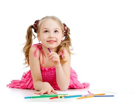 niños dibujando: chica de ensueño con los lápices Foto de archivo