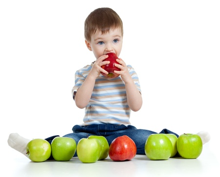 baby boy with healthy food photo