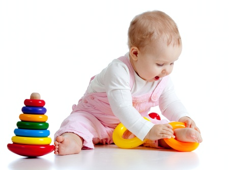 children playing with toys: pretty baby with color educational toy
