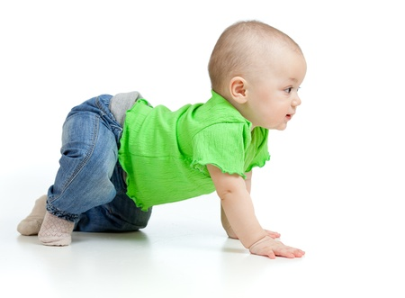 funny baby goes down on all fours Stock Photo - 12584160