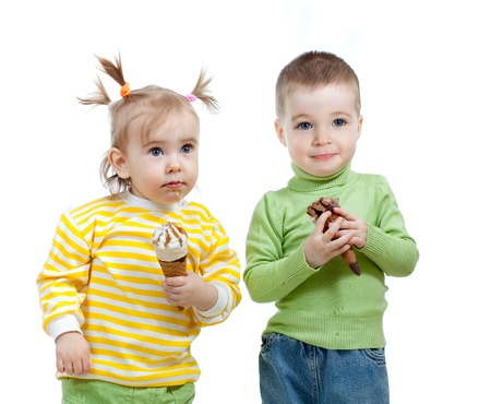 happy children little girl and boy with ice cream in studio isolated Stock Photo - 12584221