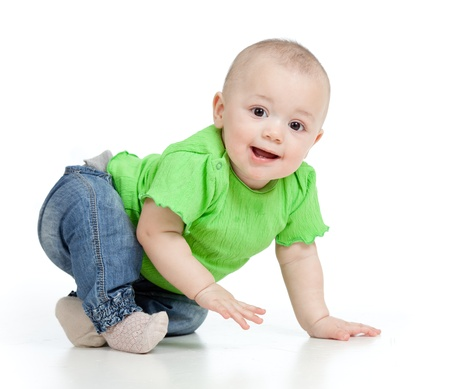 crawling baby: funny baby goes down on all fours