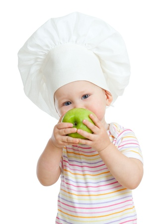 Child girl with green apple photo