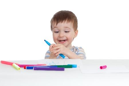 felt tip pen: little child with color pen over white Stock Photo