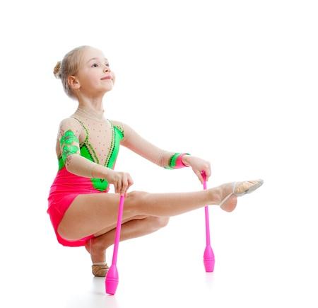 rhythmic: beautiful girl gymnast doing exercises over white