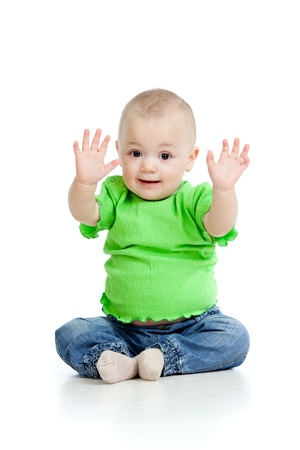 five fingers: small baby girl sitting on floor