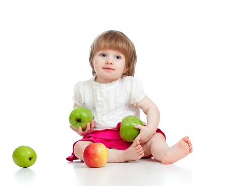 little girl with healthy food photo