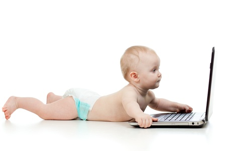 computer game: Child using a laptop