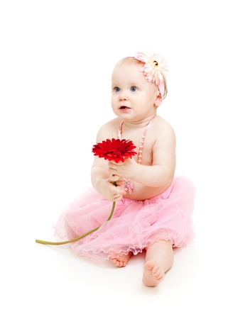 cute little girl with flower, isolated on white photo