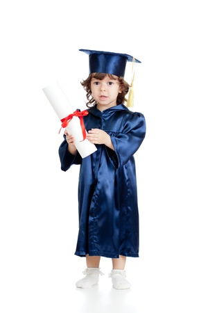 Adorable child in academician clothes with roll photo