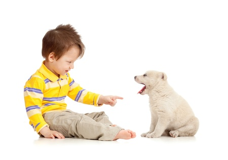 little kid training puppy on white background photo