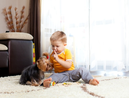amor adolescente: Ni�o con perro en la sala de Foto de archivo