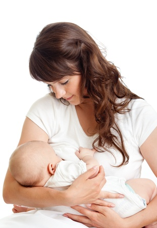 young mother breast feeding her infant photo