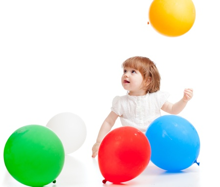 Kid with colorful balloons  Isolated on white  photo