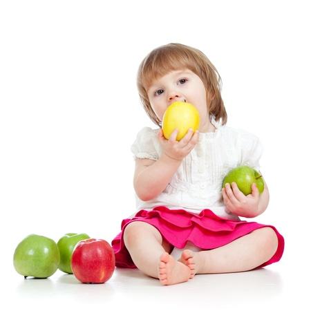kid eating healthy food apples photo