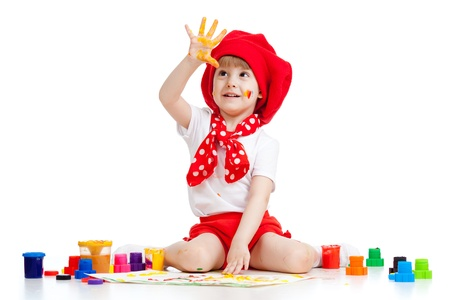 adorable artist kid drawing and painting Stock Photo