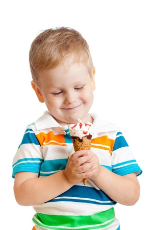 happy child boy with ice cream isolated on white backgrond photo