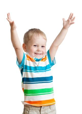 제스처: 흰색 배경에 고립 된 손으로 아이 소년