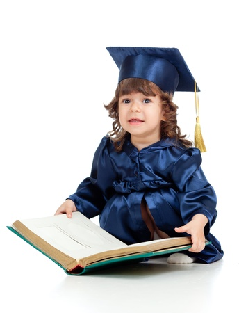 prodigy: Little girl kid in academician clothes  with book