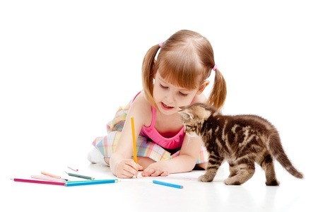 small cat watching at drawing child girl photo