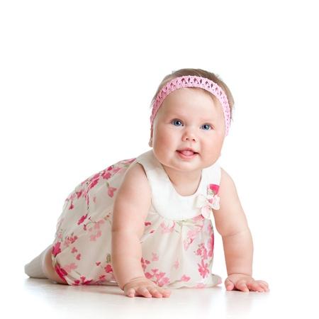 headband: pretty crawling baby girl isolated on white background