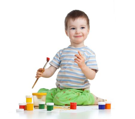 happy child boy with paints Stock Photo - 14549641
