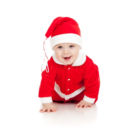 funny crawling Santa claus baby boy photo