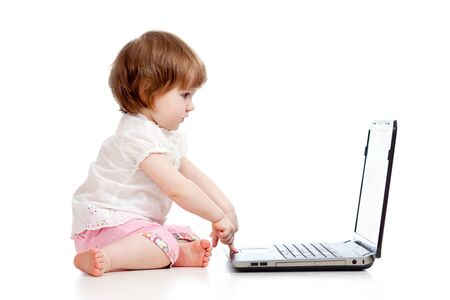 cute child using a laptop photo