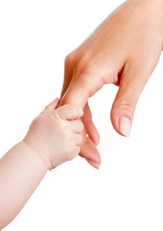 baby and mother hands isolated on white photo
