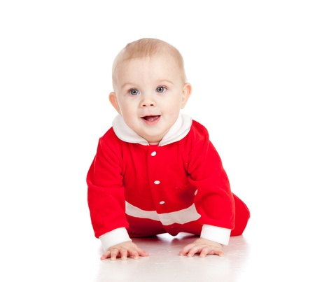 baby christmas: Christmas happy baby  is crawling  Isolated on white background  Stock Photo