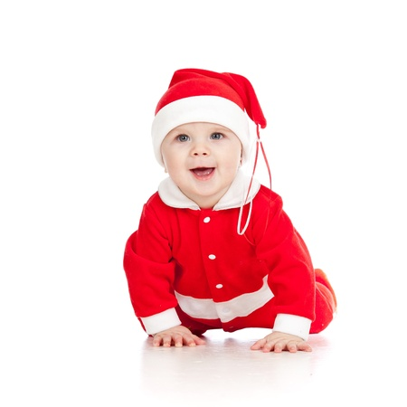 Christmas happy baby  is crawling  Isolated on white background  Stock Photo - 14726711