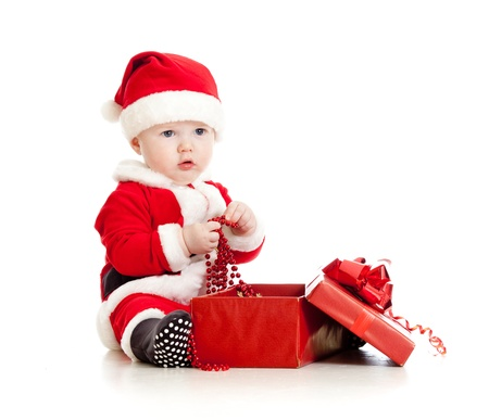 Santa Claus baby with gift box isolated on white background Stock Photo - 14726717