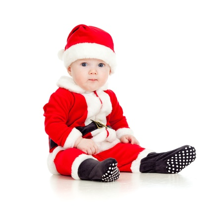 Christmas funny baby in Santa Claus clothes