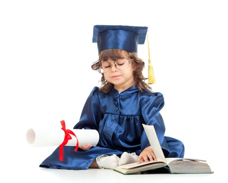 prodigy: Little girl kid in academician clothes  reading book