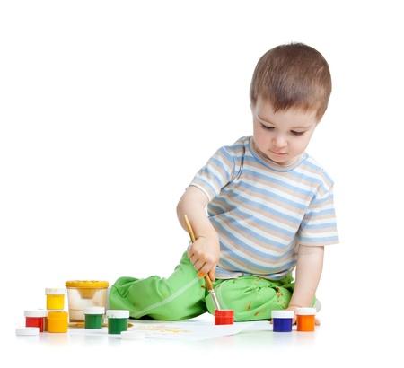 painting kid boy over white background Stock Photo - 14824286