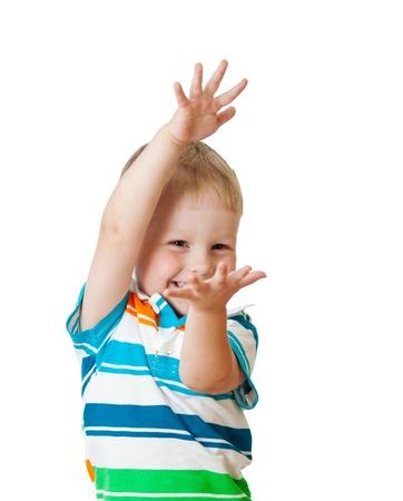 hand signal: child boy showing something isolated on white background Stock Photo