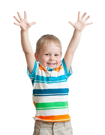 hand signal: child boy with hands up isolated on white background
