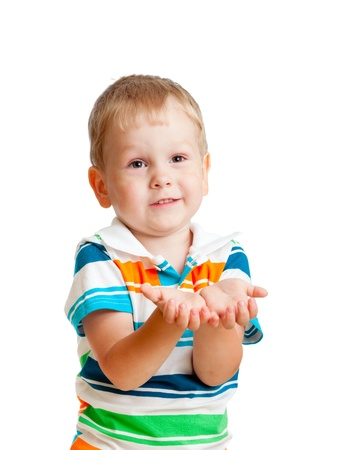 child boy reaching his hands out, isolated on white photo