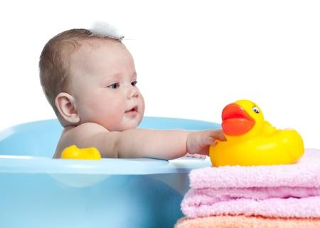 child bath: baby child taking bath and playing Stock Photo