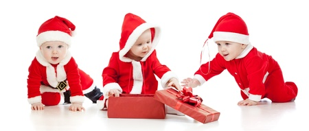 three month: christmas Santa Claus babies boys and girl with gift box